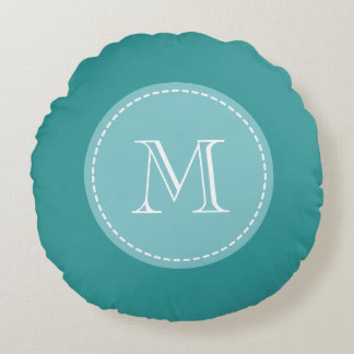 Turquoise blue personalized monogram round pillow