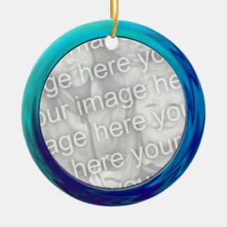 turquoise blue photo frame christmas tree ornament