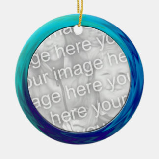 turquoise blue photo frame Double-Sided ceramic round christmas ornament