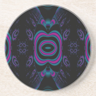 Turquoise Blue, Pink, and Black Floral Pattern. Drink Coaster