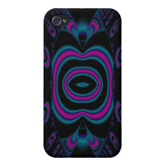 Turquoise Blue, Pink, and Black Floral Pern. Covers For iPhone 4