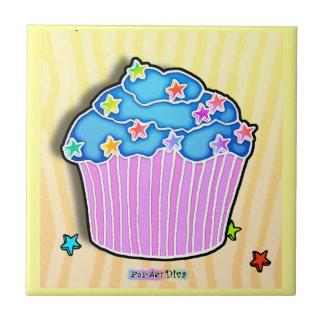 Turquoise Blue & Pink Pop Art Cupcake Tile