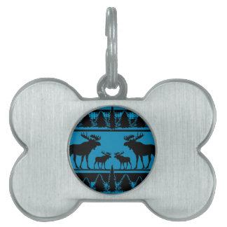 Turquoise blue plaid moose rustic pattern pet name tag