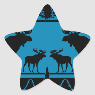Turquoise blue plaid moose rustic pattern star sticker