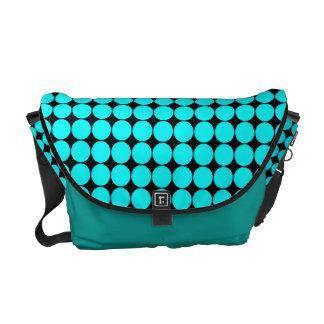 Turquoise Blue Polka Dots Rickshaw Messenger Bag