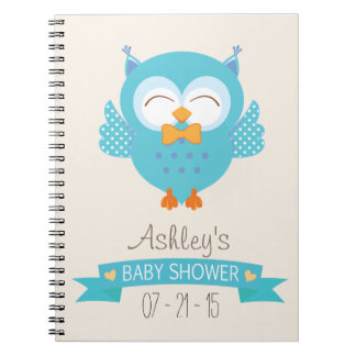 Turquoise Blue & Purple Boy Owl Baby Shower Notebook