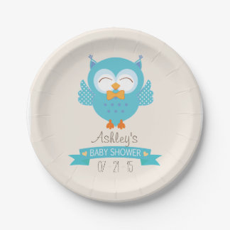 Turquoise Blue & Purple Boy Owl Baby Shower Paper Plate