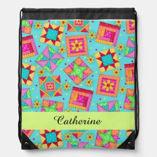 Turquoise Blue Quilt Patchwork Block Art Name Drawstring Bag