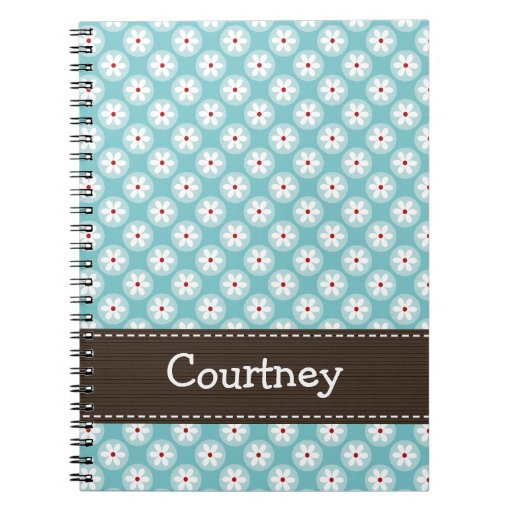 Turquoise Blue Red Daisy Spiral Notebook Journal