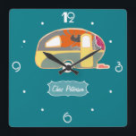"""Turquoise Blue Retro Vintage Caravan Design Square Wall Clock<br><div class=""""desc"""">See the full range of 25 Retro Caravans by Trina Esquivelzeta @SurfaceHug on various other products in the collection below.</div>"""