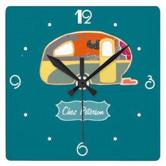Turquoise Blue Retro Vintage Caravan Design Square Wall Clock