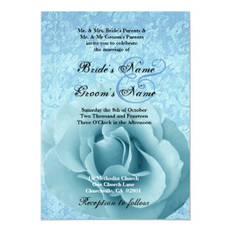 Turquoise Blue Rose and Damask Wedding 5x7 Paper Invitation Card