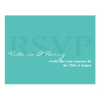 Turquoise blue RSVP simple wedding response card