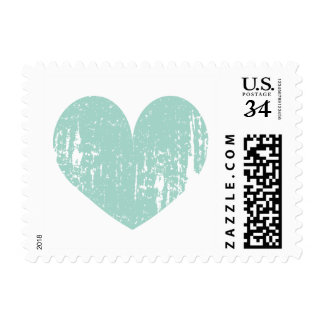 Turquoise blue rustic heart 35 cent wedding stamps