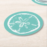 "Turquoise blue sand dollar beach wedding coasters<br><div class=""desc"">Turquoise blue sand dollar beach wedding coasters in round or square shape. Maritime coastal theme / beach party coasters with wedding party,  bridal shower etc. Vintage sanddollar look design. Sea shells.</div>"
