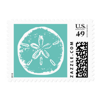 Turquoise blue sand dollar beach wedding stamps