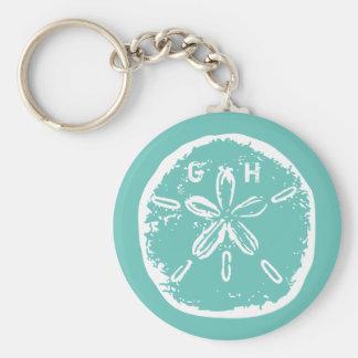 Turquoise blue Sand dollar monogram keychain
