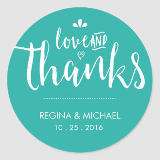 Turquoise Blue Script Wedding Thank You Sticker