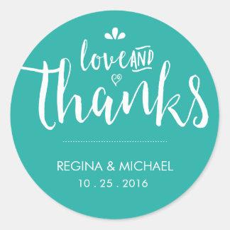Turquoise Blue Script Wedding Thank You Sticker