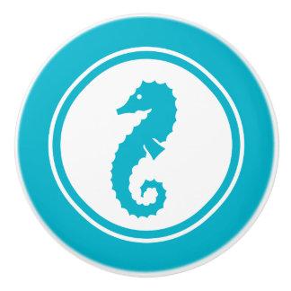 Turquoise Blue Seahorse Sea Creature ceramic knob