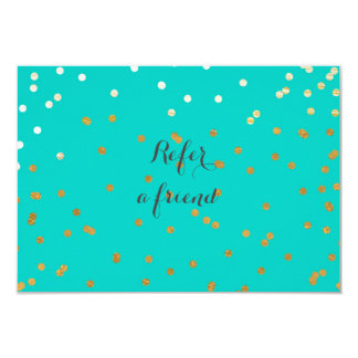Turquoise Blue & Shiny Gold Dots Referral Card