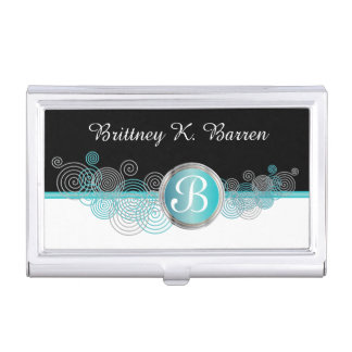 Turquoise Blue, Silver and Black Abstract Curls Case For Business Cards