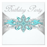 Turquoise Blue Silver Birthday Party Invitations