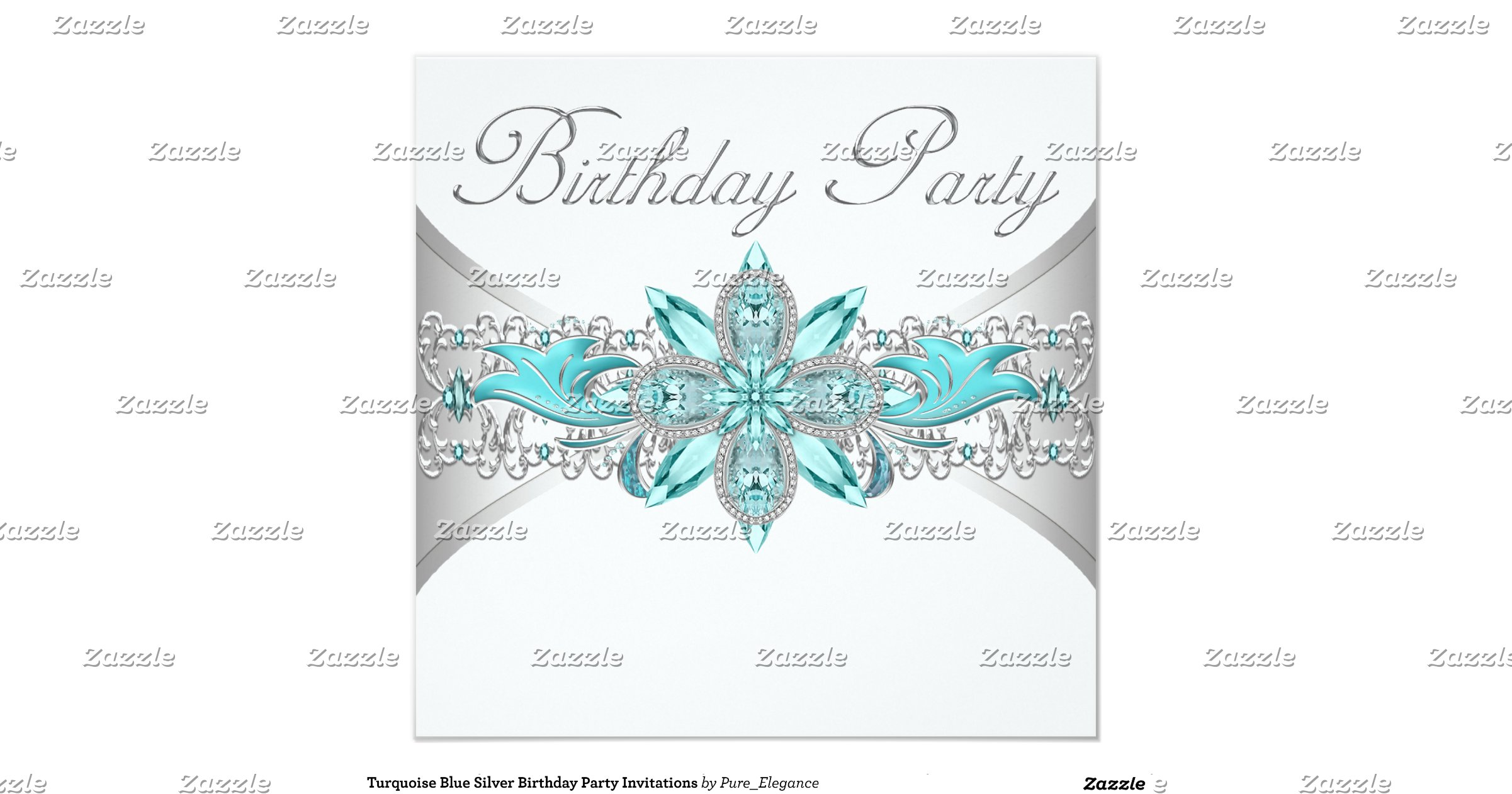 turquoise_blue_silver_birthday_party_invitations ...