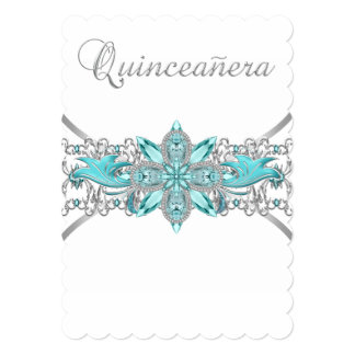Turquoise Blue Silver Quinceanera 5x7 Paper Invitation Card