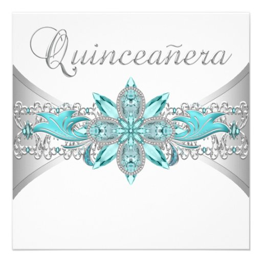 Turquoise Blue Silver Quinceanera Invitations (front side)