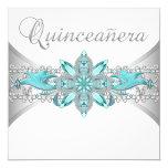 "Turquoise Blue Silver Quinceanera Invitations 5.25"" Square Invitation Card"