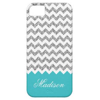 Turquoise Blue Silvery Glitter Chevron Pattern iPhone SE/5/5s Case