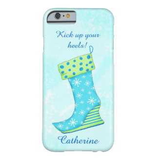 Turquoise Blue Snowflake Christmas Stocking Name Barely There iPhone 6 Case