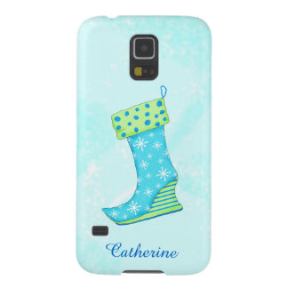 Turquoise Blue Snowflake Christmas Stocking Name Case For Galaxy S5