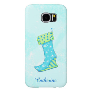 Turquoise Blue Snowflake Christmas Stocking Name Samsung Galaxy S6 Cases
