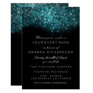 Turquoise Blue Sparkly Glitter Black White Event Card
