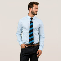 Turquoise Blue Striped Black Tie