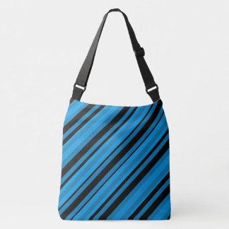 Turquoise Blue Striped Shoulder Bag Tote