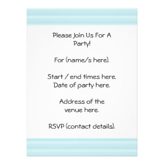 Turquoise Blue Stripes Personalized Invite