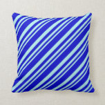 [ Thumbnail: Turquoise & Blue Stripes/Lines Pattern Pillow ]