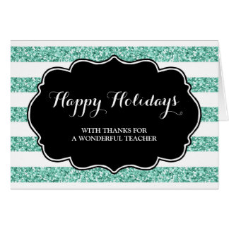 Turquoise Blue Stripes Teacher Christmas Card