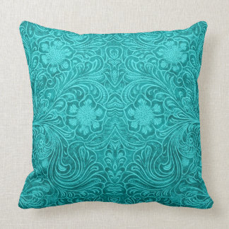 Turquoise Blue Suede Leather Look Floral Design Throw Pillow