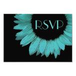 Turquoise Blue Sunflower Wedding RSVP Response Custom Invite