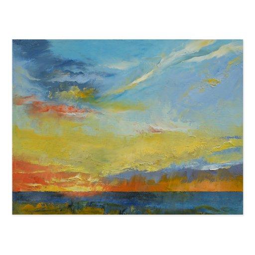 Turquoise Blue Sunset Postcard