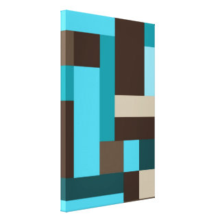 Turquoise Blue Teal & Brown Geometric Modern Art Canvas Print