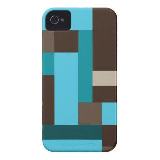 Turquoise Blue Teal & Brown Geometric Modern Art iPhone 4 Cover