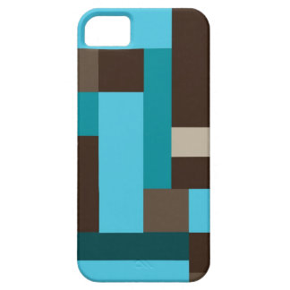 Turquoise Blue Teal & Brown Geometric Modern Art iPhone SE/5/5s Case