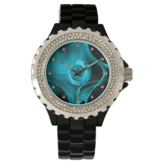 TURQUOISE BLUE TEAL FRACTAL ROSE WRISTWATCH