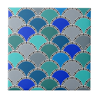 Turquoise Blue Teal Gray Scales Pattern Ceramic Tile