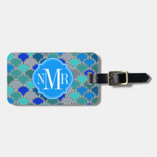 Turquoise Blue Teal Gray Scales Pattern Monogram Tag For Luggage